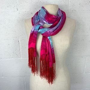 Scarf Multicolor, Silk and Rayon, Fringe on ends.